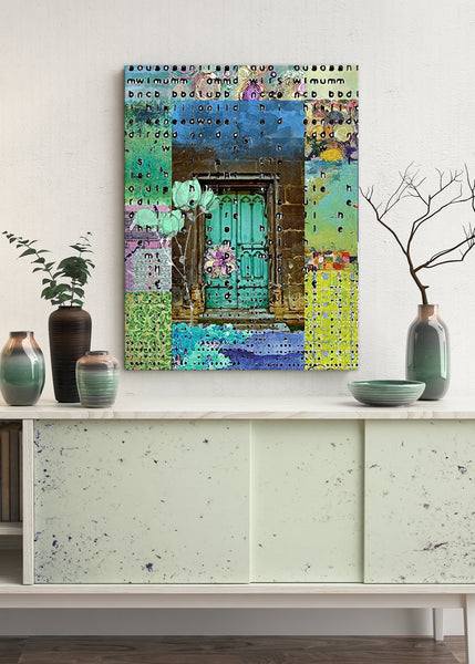 Teal Door Abstract Art by Sheree Burlington