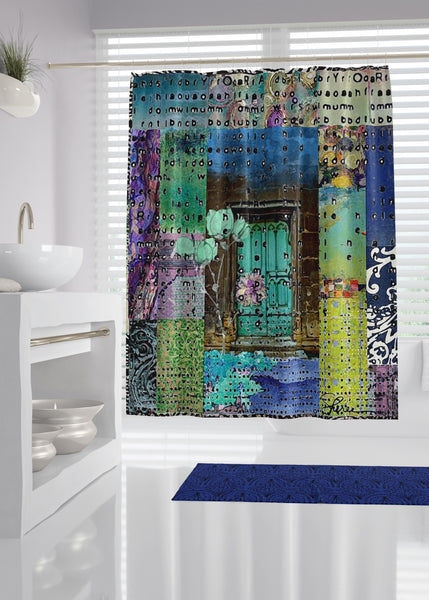 Teal Door Designer Shower Curtain