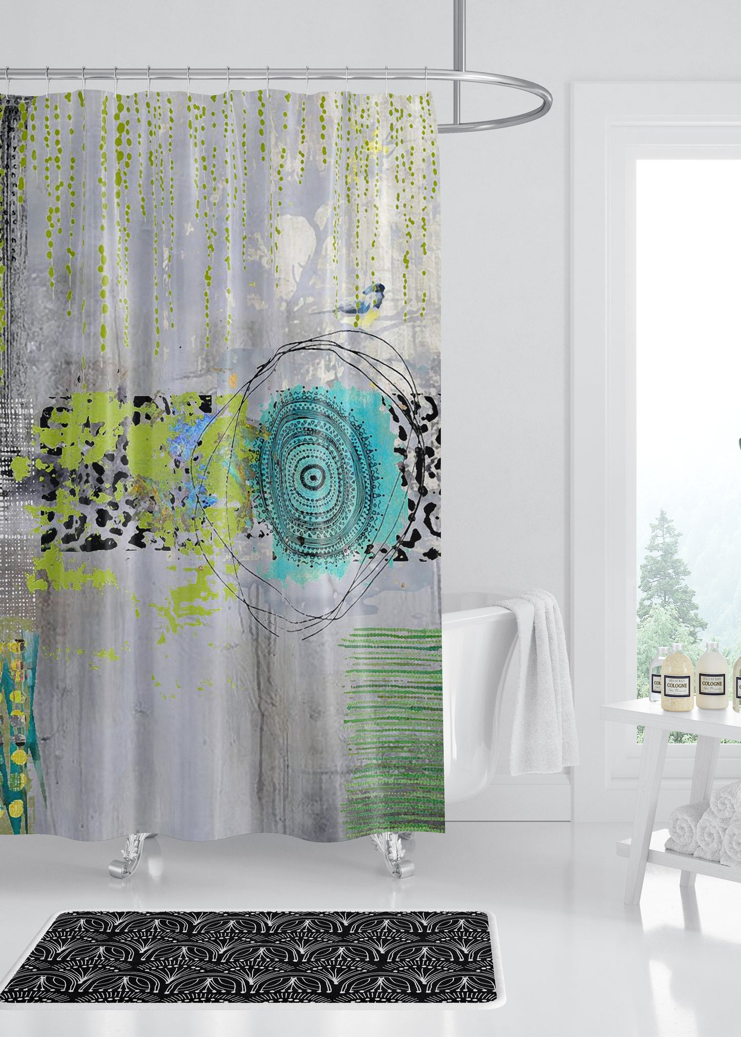 Teal Round Designer Shower Curtain by Sheree Burlington