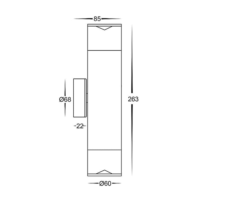 3A ST Cylinder Up & Down Wall Light Black