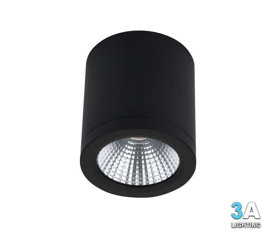 3A 15W LED Surface Mount Cylinder Downlight Black