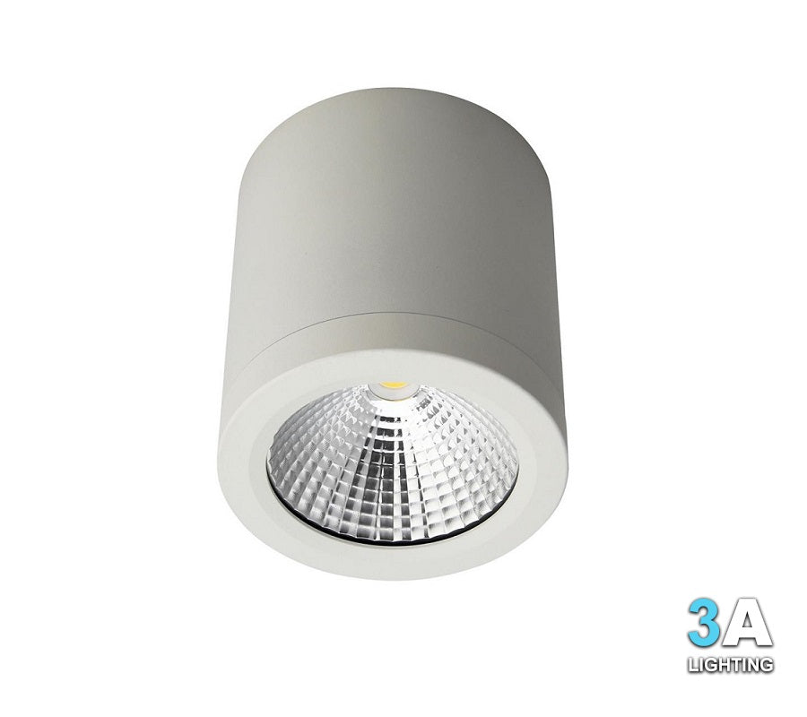 3A 15W LED Surface Mount Cylinder Downlight White