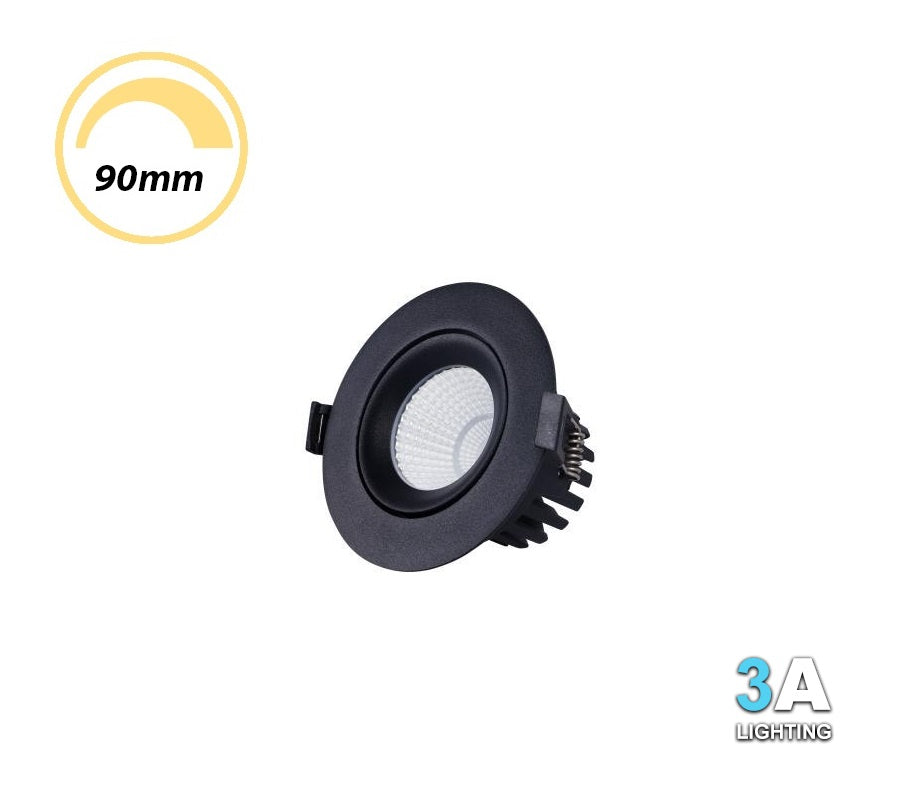 3A 10W LED COB Gimble Dimmable Downlight Recessed Black