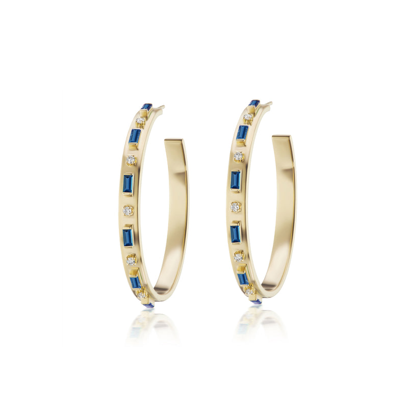 Baguette and Diamond Hoops