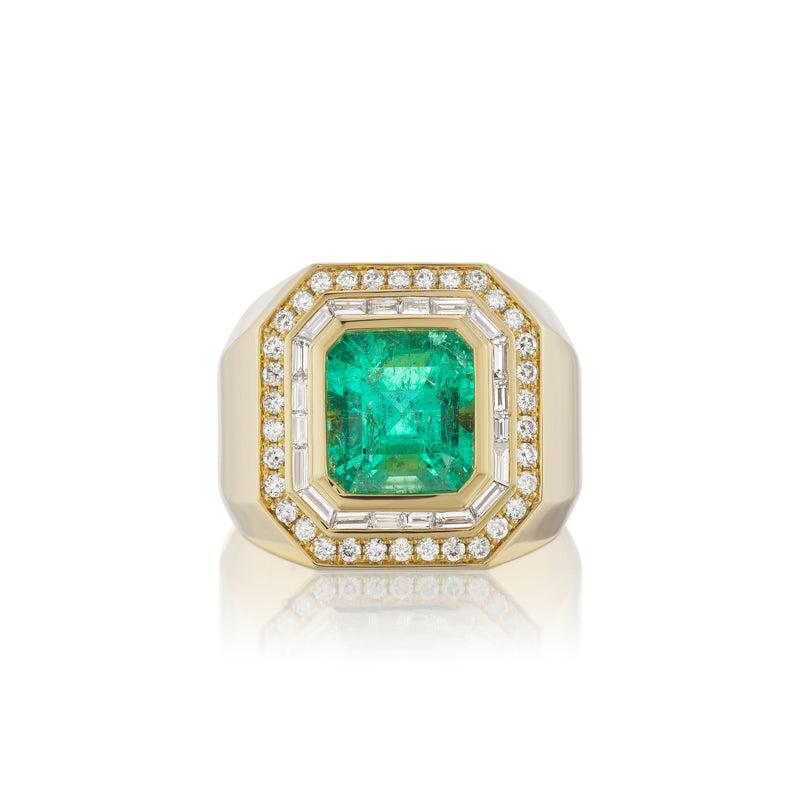 Diamond Baguette & Emerald Gypsy Ring