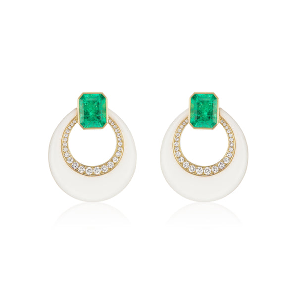 Emerald & Onyx Earrings