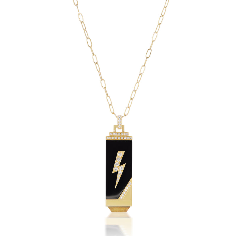 Lightening Bolt Amuleti Tablet Necklace