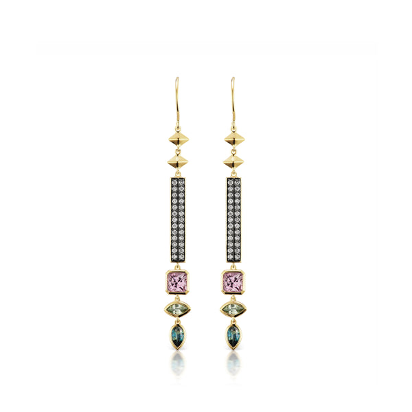 Stx Mixed Stone & Gold Earrings