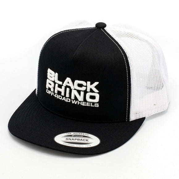 BLACK RHINO HAT MESH BLACK HAT/WHITE MESH BACK WITH WHITE LOGO