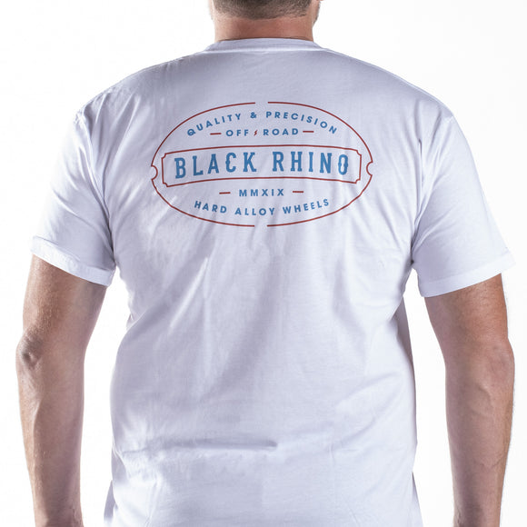 T-SHIRT BLACK RHINO LINE WHITE - LARGE