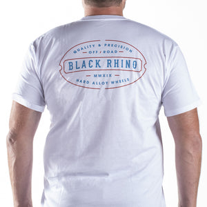 T-SHIRT BLACK RHINO LINE WHITE - 2XL