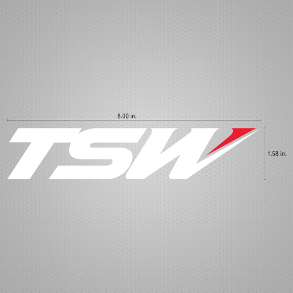 STICKER DECAL TSW LOGO WHITE W/ RED 8