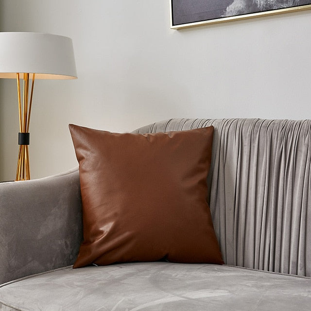 Leather Decorative Throw Pillow Cover