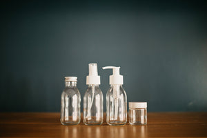 Clear Glass Jars with Black or White Lids