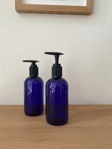 Blue Plastic Refillable Bottle with Pump