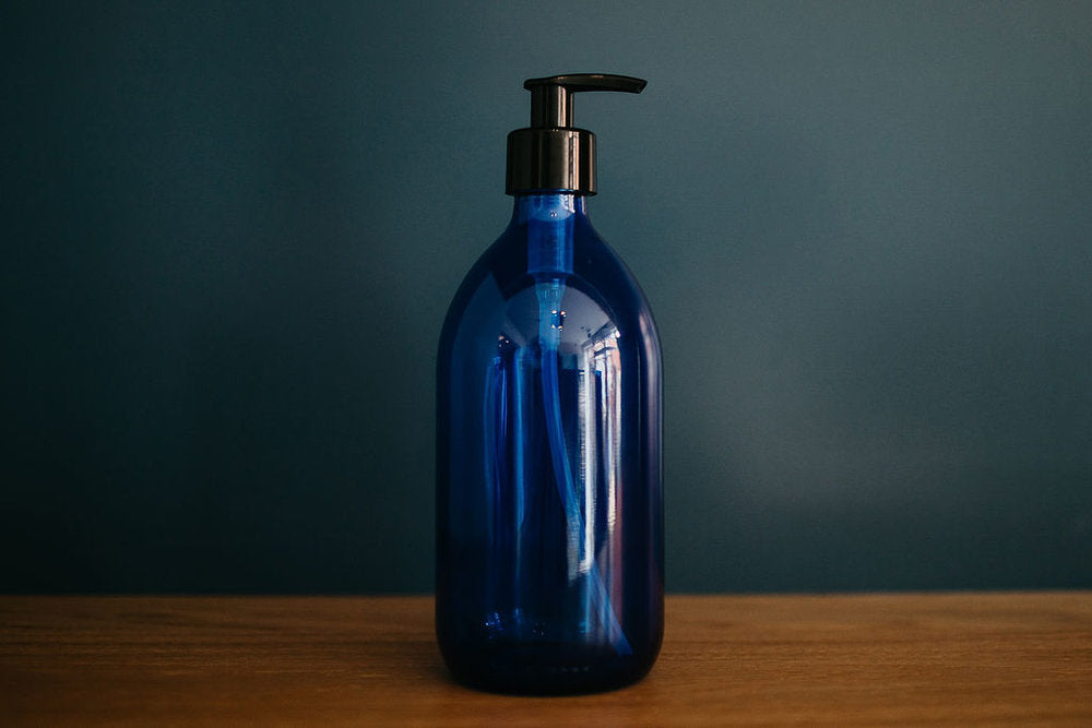 Blue Glass Bottle Pump Top