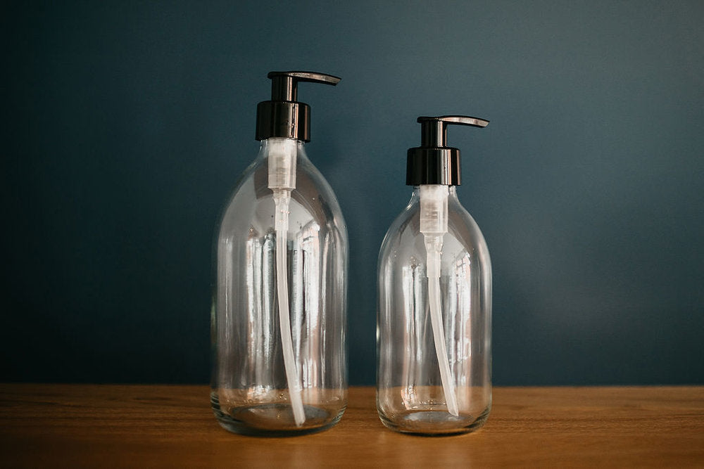 Clear Glass Handwash and Lotion Set