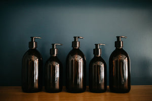 Amber Glass Bottle Bathroom Collection