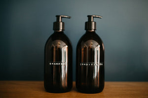Shampoo and Conditioner Glass Bottles