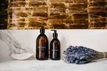 Load image into Gallery viewer, Amber Glass Soap Bottles Set
