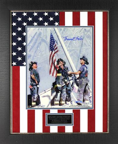 9/11 Commemerative Signed 11x14 Framed with Flag Matting & Name Plate Framed