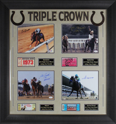 Triple Crown Jockeys Signed 8x10's Display with Replica Tickets & Name Plates