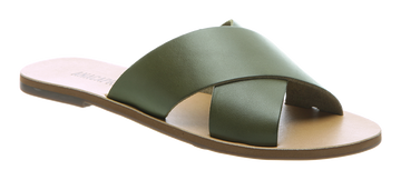 Anacapri | Flat Cross Sandal Green
