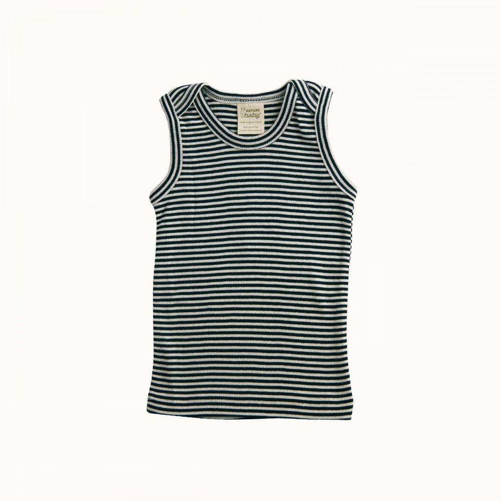 Nature Baby | Cotton Singlet Navy Stripe