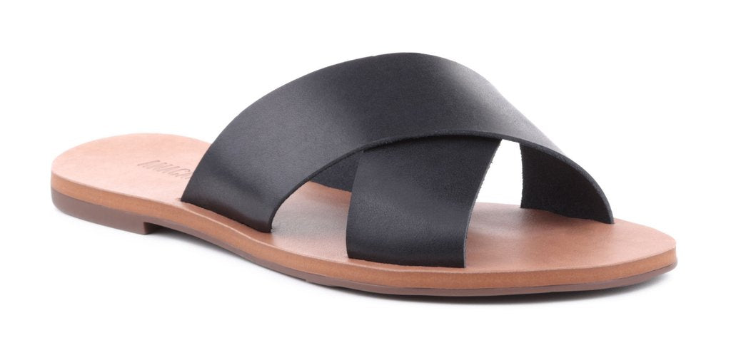 Anacapri Flat Cross Sandal - Black