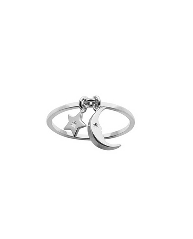 Karen Walker Moon and Star Charm Ring Silver