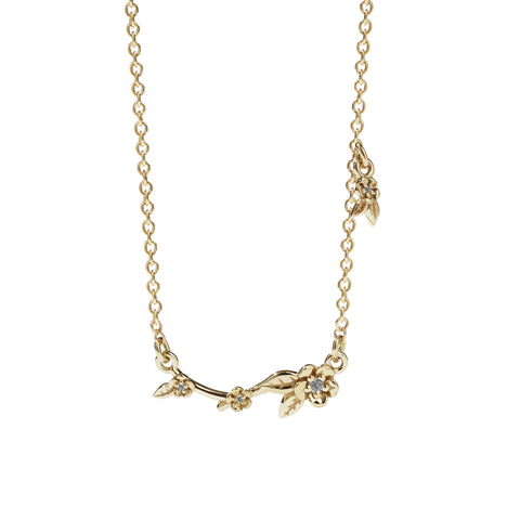 Meadowlark Alba Vine Necklace - Gold with Diamonds