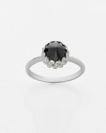 Meadowlark Mini Protea Ring in Silver with Onyx
