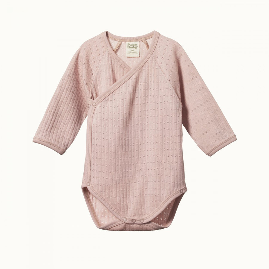 Nature Baby | Long Sleeve Kimono Bodysuit Pointelle Rose Bud