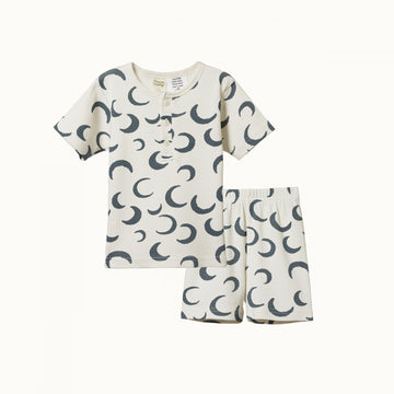 Nature Baby | 2 Piece Short Sleeve Cotton Rib Pyjamas Crescent Moon Print