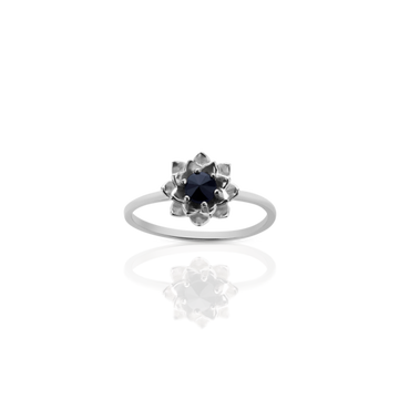protea stacker-ring with stone sterling silver midnight sapphire.meadowlark