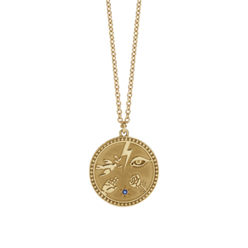 Meadowlark | Talisman Necklace Gold Plated Blue Sapphire