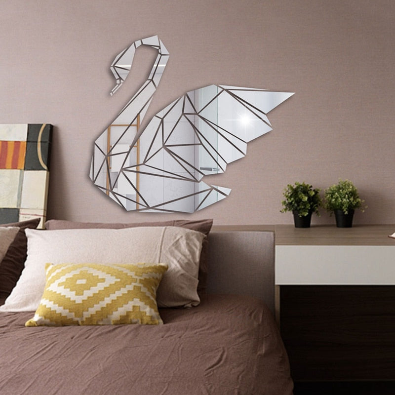 Lumi Swan Mirror Wall Sticker
