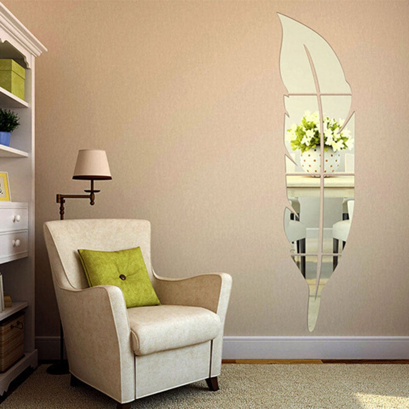 Lumi Feather Mirror Wall Sticker