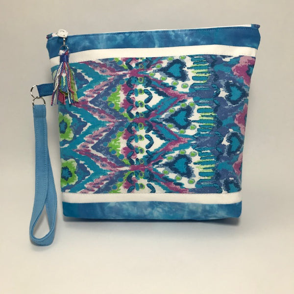 Blue Tie Dye:  Wristlet Zippered Pouch