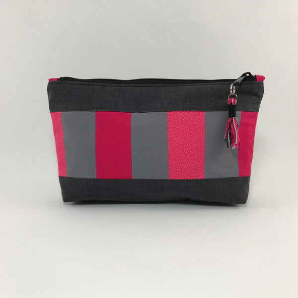 Gray and dark pink stripes:  Zippered Pouch