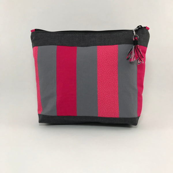 Gray and pink stripes:  Zippered Pouch