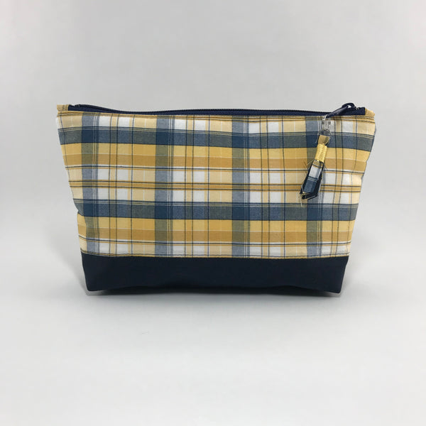 Yellow and Navy Plaid:  Zippered Pouch