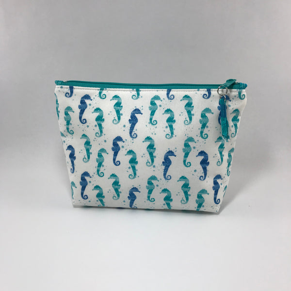 Teal Sea Horses:  Zippered Pouch