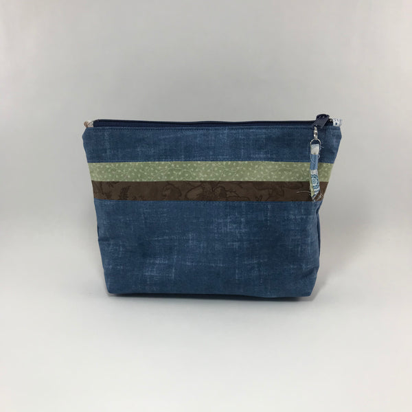Blue, Green and Brown:  Zippered Pouch