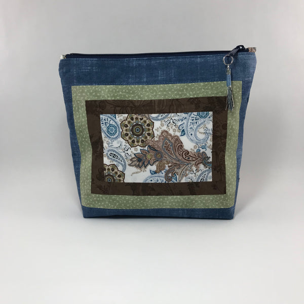 Blue, Green and Brown with paisley:  Zippered Pouch