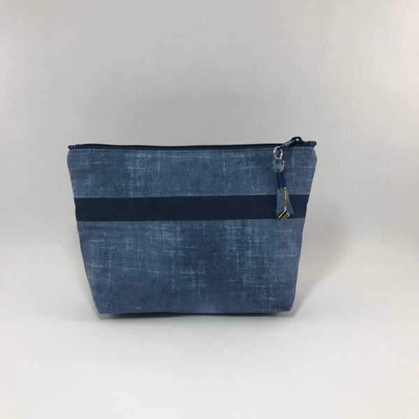 Blue Denim Look with Navy:  Zippered Pouch