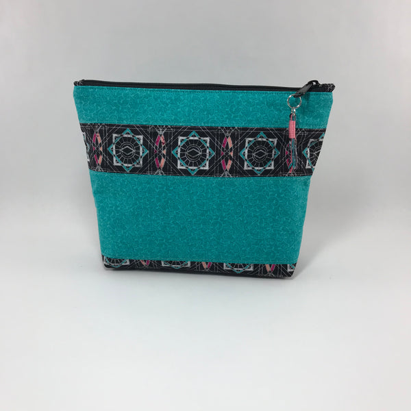 Black Modern Print with Teal:  Zippered Pouch