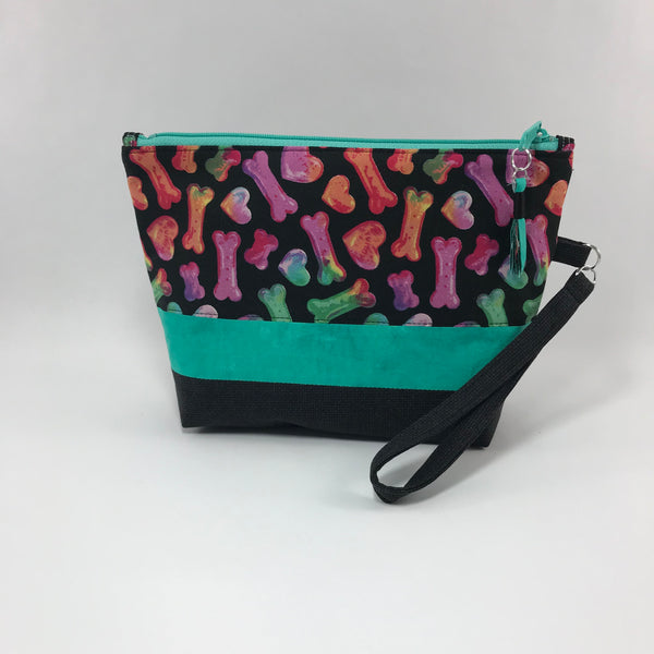 Dog Bone:  Wristlet Zippered Pouch