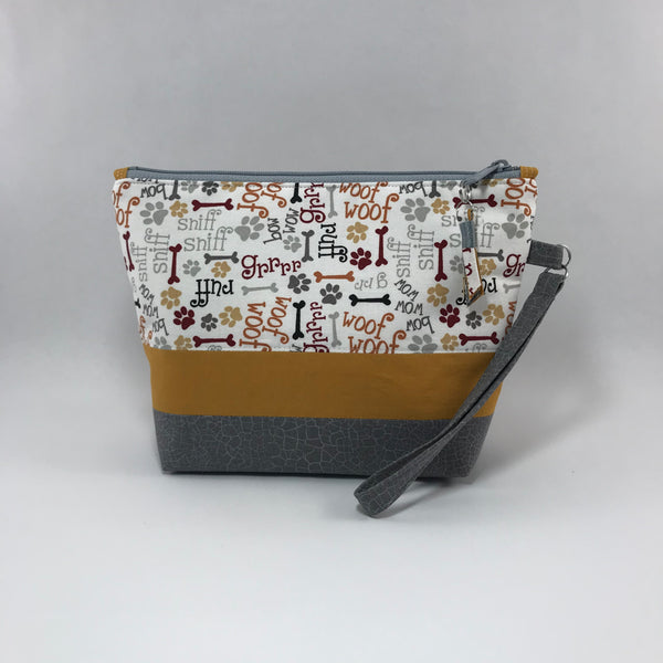 Woof Woof Doggie:  Wristlet Zippered Pouch