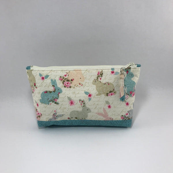 Floral Bunnies with Teal:  Zippered Pouch
